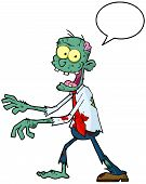 Blue Cartoon Zombie Walking With Hands In Front