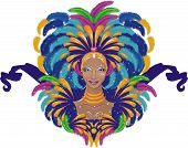 picture of brazilian carnival  - Beautiful carnival girl in traditional clothes vector illustration - JPG