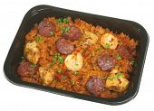 Jambalaya ready meal with chicken, prawns and pepperoni sausage.