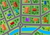 pic of building relief  - Map of little town or suburb village for real estate design - JPG