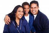 close up portrait of indian family in pajamas on white background