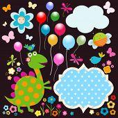 Dinos-Karte, glücklich hübsch bunte Dinosaurier