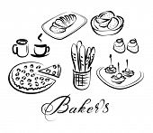 food and drinks vector icon set, baker's theme - tea, coffee, bread, pizza, baguettes, cakes, canapes