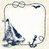 Navy blue prints of a boat, anchor and seagull with a marine rope frame on a grunge background, vect
