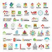Collection of vector icons of design construction and home improvement