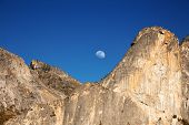 Moonrise above the Cathedral Rocks on a clear evening, Yosemite National Park, California, USA