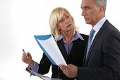Executive couple looking through report