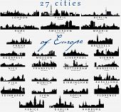 stock photo of european  - Set of Detailed vector silhouettes of European cities - JPG