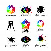 Collection of vector icons design for photographers and photo
