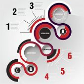 Timeline red infographic bckground