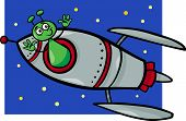 Alien In Rocket Cartoon Illustration