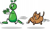 Alien And Dog Cartoon Illustration