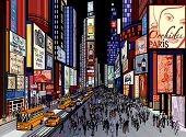 stock photo of cabs  - Vector illustration of a night view of times square in New York  - JPG