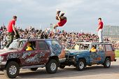 MOSCOW - AUG 25: Stunt jump from one vehicle to another on Festival of art and film stunt Prometheus