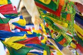 Prayer flags flying in the wind at Bodhnath stupa in Kathmandu, Nepal