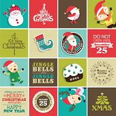 stock photo of christmas claus  - Christmas design elements for greeting card - JPG
