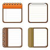 Quatro ícones de blocos de notas