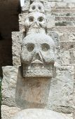 stock photo of bannister  - Skull bannister at Xcaret theme park in Mexico - JPG