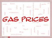 Gas Prices Word Cloud Concept On A Whiteboard