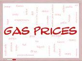 Los precios de gas nube palabra concepto en una pizarra