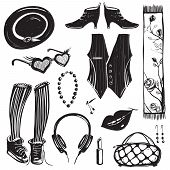 Hipster Woman Clothing and Accessories Collection