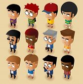 People Men Isometric Set. Vector Illustrator