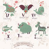 Cute zoo alphabet in vector. U, v, w, x, y, z letters. Funny animals in love. Unicorn, vampire bat,
