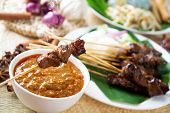 Satay or sate, skewered and grilled meat, served with peanut sauce, cucumber and ketupat. Traditional Malay food. Malaysian dish, Asian cuisine.