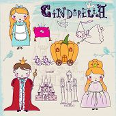 Cinderella Fairytale Characters and Symbols - Hand drawn characters illustrating famous children fai