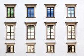 Old Windows At Hofburg Facade In Vienna