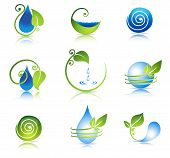 water and leaf symbols