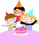 Children and birthday party -illustration art