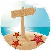 Conceito de viagens do vetor. Guidepost na praia com as estrelas do mar