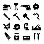 stock photo of hammer drill  - Carpentry Icons - JPG