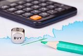 Uptrend Financial Chart Of The Stock Market, Green Arrow, Calculator, Green Pencil And Dices Cube Wi