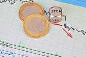 Downtrend Financial Market Chart, Red Arrow, Dices Cube With The Word Stop And One-euro Coins. Selec
