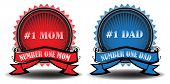 Number one mom and dad badges