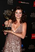 LOS ANGELES - JUN 16:  Heather Tom in the press area at the 40th Daytime Emmy Awards at the Skirball Cultural Center on June 16, 2013 in Los Angeles, CA