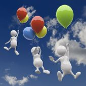 3D People With Colorful Balloons On Blue Sky Background