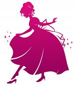 image of cinderella  - silhouette of Cinderella wearing her glass slipper - JPG