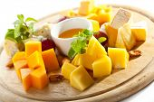 Cheese Platter with Grapes and Honey