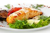 stock photo of salmon steak  - Salmon Steak with Grilled Vegetables - JPG