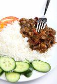 Beef Szechuan With Fork Vertical