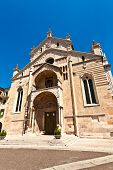 picture of juliet  - The facade of the catholic middle ages romanic cathedral in Verona the city of Romeo and Juliet Italy - JPG