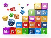 Chemistry concept. Wall from cubes wiyh periodic table of element. 3d