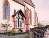 pic of carmelite  - Carmelite Monastery Church of ancient town village of Hirschhorn in Hesse district of Germany on banks of Neckar river - JPG