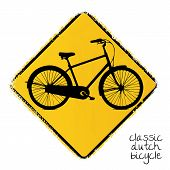 warning road sign with a dutch bicycle