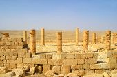 Columns and ancient ruins of old town of Avdat founded and inhabited by Nabataeans in desert of Negev in Israel.
