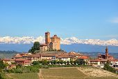 Small town of Serralunga D'Alba with medieval castle on the hills of Langhe in Piedmont, Italy.