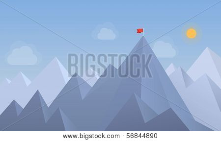 Flag On The Peak Illustration poster